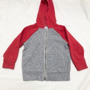 Old Navy grey and red hooded zipper sweatshirt